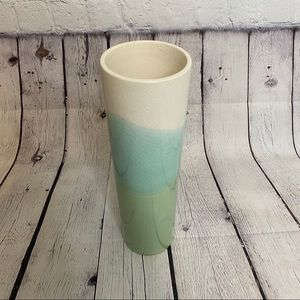CRATE&BARREL aqua mint white porcelain fade vase